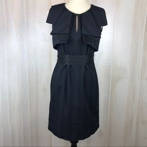 NWT BCBGeneration Black Cotton Ruffle Collar Dress